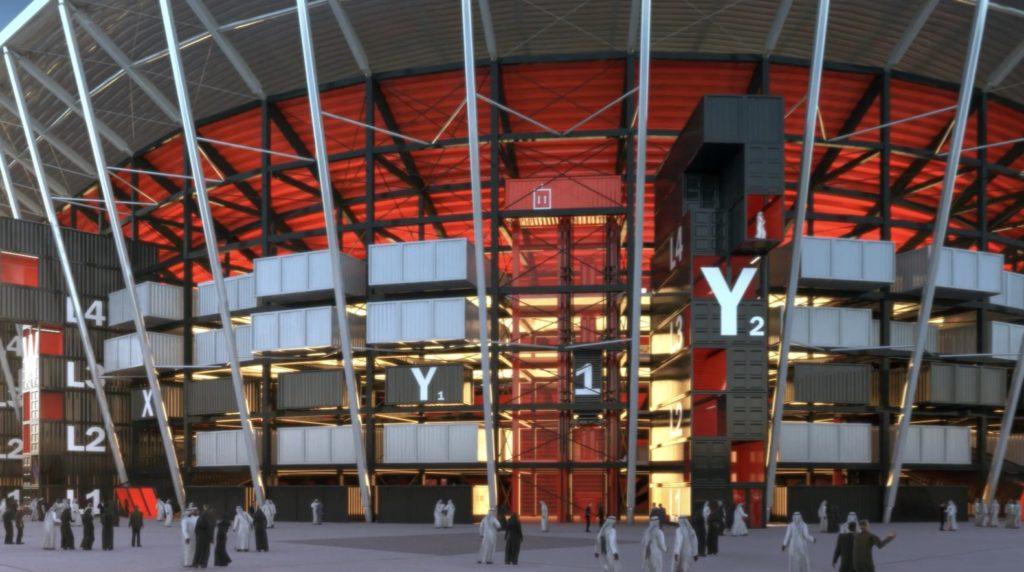 Uno stadio costruito con i container per Qatar 2022