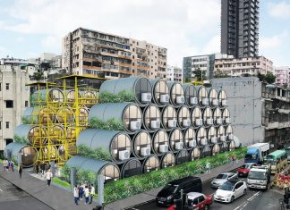 I mini appartamenti modulari in tubi di cemento a Hong Kong