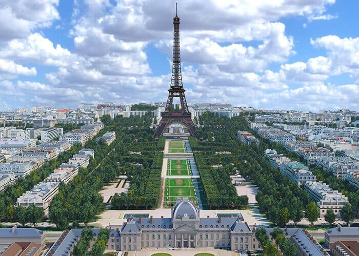 Nuvole di dati per la Torre Eiffel e Champ de Mars