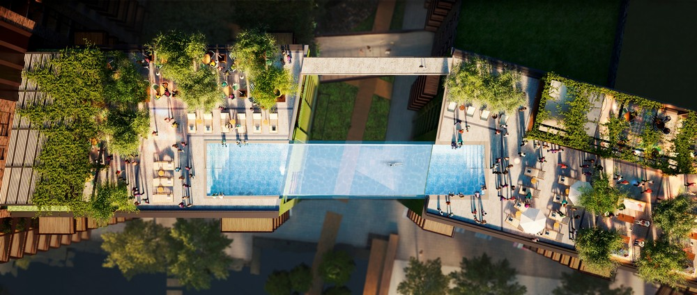 Sky Pool, una piscina tra due grattacieli. Ph. embassygardens.com